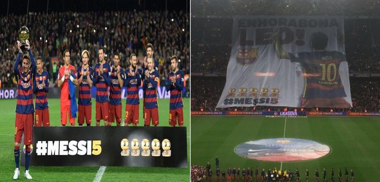 جماهير برشلونة تحتفل بميسي