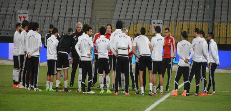 منتخب مصر خلال التدريب الأخير قبل لقاء غانا