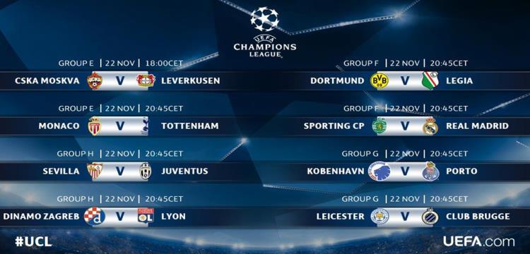 دوري ابطال اوروبا - مباريات الثلاثاء