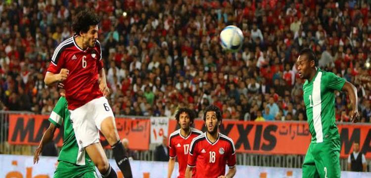 أحمد حجازي في لقطة من مباراة مصر ونيجيريا السابقة