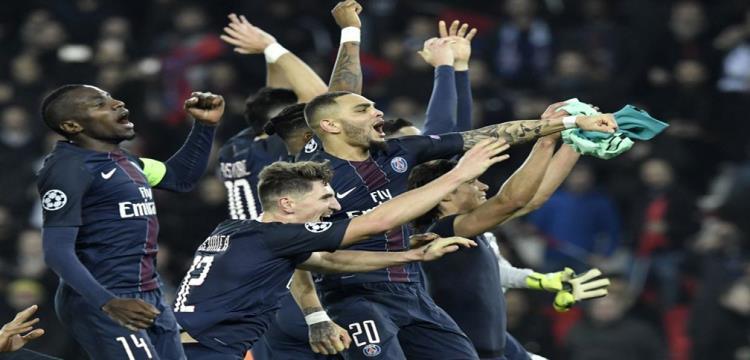 فرحة سان جيرمان بالفوز على برشلونة