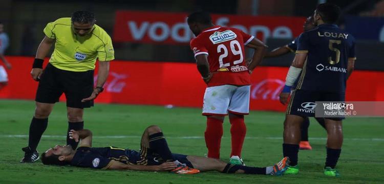محمود عاشور خلال إحدى مباريات الدوري