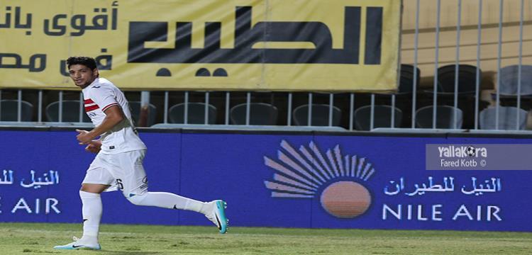 محمد مسعد لاعب الزمالك خلال مشاركته في مباراة أسوان