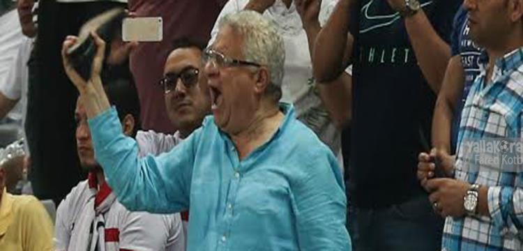 مرتضى منصور رئيس نادي الزمالك أثناء مباراة أهلي طرابلس