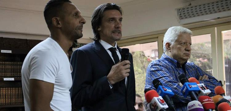 مرتضى منصور في مؤتمر تقديم نيبوشا للإعلام