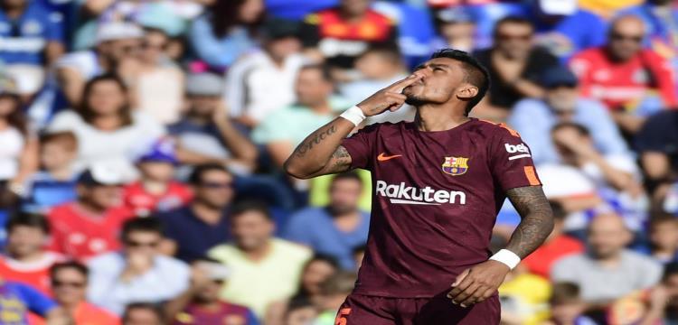 باولينيو يحتفل بأول أهدافه مع برشلونة