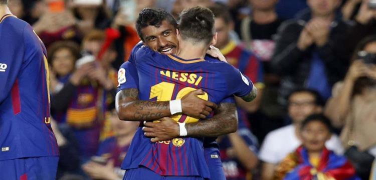 ميسي مع باولينيو خلال مباراة برشلونة وإيبار