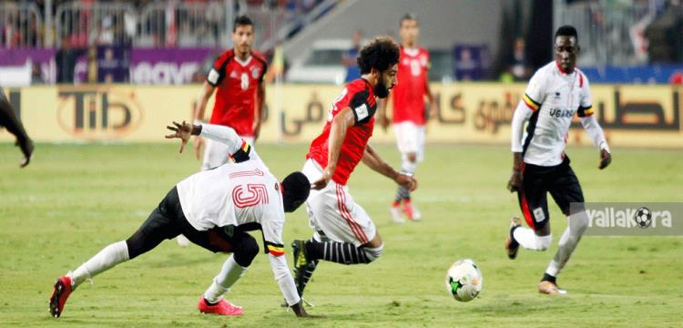 جانب من مباراة مصر وأوغندا