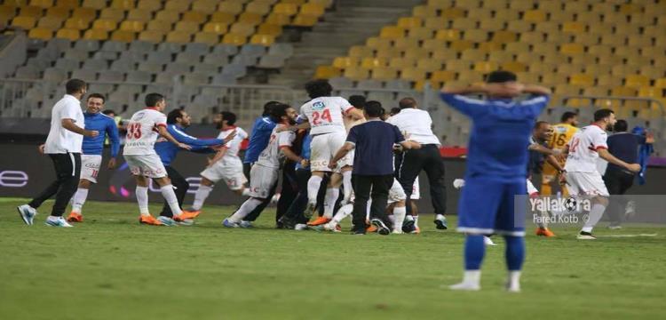 فرحة لاعبي الزمالك بعد الفوز على سموحة بنهائي كأس مصر