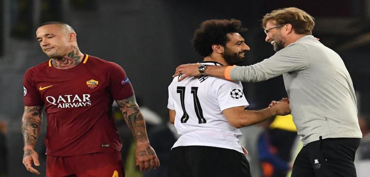 محمد صلاح ويورجن كلوب في مباراة روما