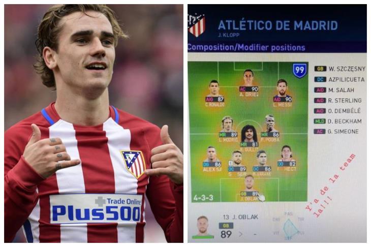"""جريزمان يختار صلاح ضمن فريق أتليتكو مدريد """"المثالي"""" في لعبة إلكترونية"""