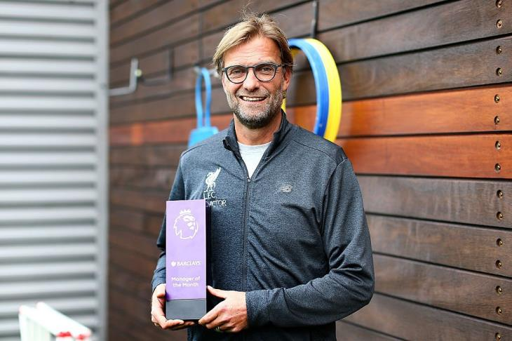 Klopp continues to dominate . Premier League coach of the month for the second time in a row