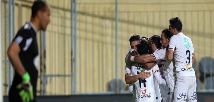 احتفال لاعبي الزمالك بالهدف.. تصوير: فريد قطب
