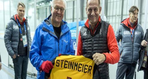 الرئيس الألماني يفاجئ فريق هوكي الجليد المشارك في الأولمبياد الشتوي